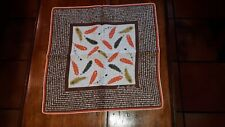 Sally Victor Vintage Handkerchief Rolled Edge Feathers Orange Yellow Green Brown