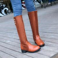 Fashion Womens Lady Buckle Side Zip Low Heel Knee High Boots casual Shoes New