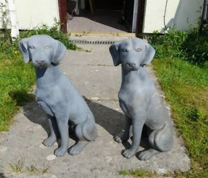 Vintage Replica Pair Resin Jaquemart Hunting Dogs 48cm Tall