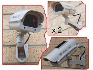 2 x Dummy Security Cameras - SOLAR FAKE CCTV CAMERA RED LED POWER LIGHT