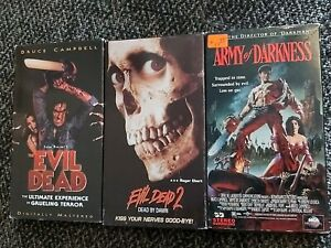 TESTED - Evil Dead Trilogy VHS 1 2 3 Army Of Darkness Bruce Campbell Horror Gore