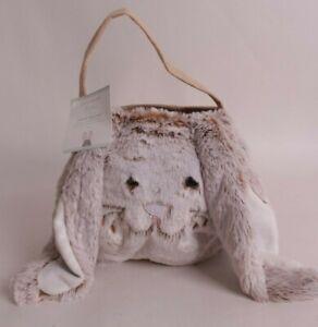Pottery Barn Kids Long Ear Bunny Rabbit Easter treat bucket Halloween, brown