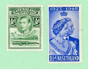 Basutoland 2 stamps , SC 18, 39, KGVI, Silver Wedding Issue, 1938, 48,  MPH