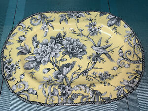 222 Fifth ADELAIDE Scalloped Oval Yellow Floral Bird Toile Platter Tray NEW