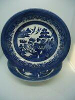 Ringtons Willow Pattern Soup Bowls x 2 Cobalt Blue 20 cm Vintage British