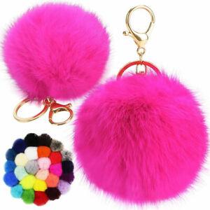 Faux Rabbit Fur Ball PomPom Charm Key Chain Gold Plated Keychain Car Key Ring