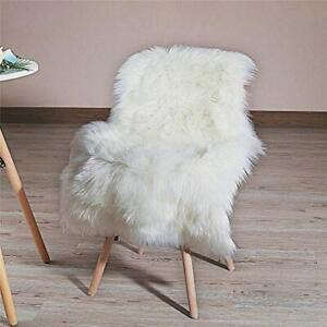 Soft Faux Fur Rug White Sheepskin Chair Cover Seat Pad Shaggy Area Rugs for Bed