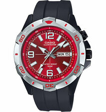 Mens Casio MTD1082-4AV Black Rubber Red Dial Illuminator Nightlight Watch