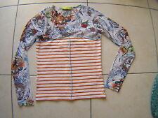 T Shirt wooXoom rayures blanc orangé haut manche voilage multicolore T 36
