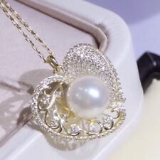 Round White Akoya Pearl Pendant Silver Plated Gold 9-8MM AAAA