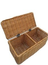 VTG Divided Wicker Basket Rattan Box Hinged Lid Storage Sewing Crafts Accessory