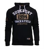 Superdry Mens Long Sleeve Pullover Hoodie Overhead Sweatshirt Black Gold White