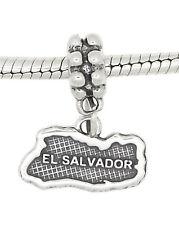 STERLING SILVER DANGLE EL SALVADOR COUNTRY MAP EUROPEAN  BEAD
