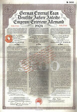Original Germany Sterling Loan 1924 Bond 7% UK GB issue £500 Daves coupons