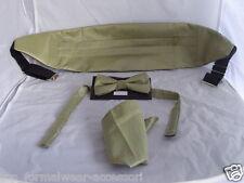 Grosgrain-green Oro Para Hombre poliéster Pajarita + Cummerbund Y Pañuelo Set