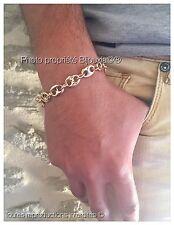 Bracelet Maille Grain De Café Large 21 CM Plaqué or 18 Carats Bijoux Homme
