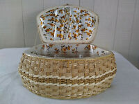 Vintage Wicker Woven Sewing Basket Japan Large Satin Floral Lining