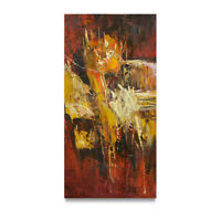 NY Art - Thick Red & Black Modern Abstract 12x24 Original Oil Painting on Canvas