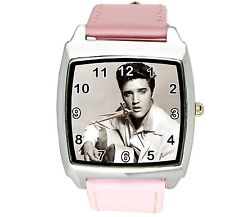 ELVIS PRESLEY WATCH Steel LEATHER MUSIC KING LEGEND SQUARE CD PINK BAND WATCH E4