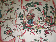 Antique Vtg French Floral Garland Figural Toile Cotton Fabric ~ Pink Blue ~ Frey