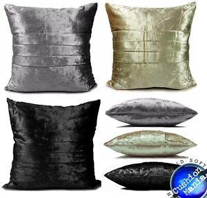 Cushion plain velour heavy crushed velvet cushion or covers PLEATED 17x17""