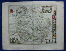 HEREFORDSHIRE, 'HEREFORDIA COMITATUS', original antique map, J. Blaeu, c.1646