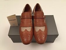New w Box Antonio Maurizi Leather & Tweed Wing Tip Shoes Men Brown & Taupe 10 US