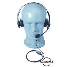 LW Dual Muff Adjustable Headset Boom Mic Inline PTT for Icom Multi-Pin Handhelds