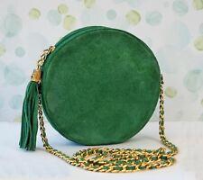 MONDI ACCESSORIES Vintage Round Emerald Green Suede Crossbody Shoulder Bag