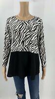 Comfy USA Womens Tunic Top Shirt Size XS Zebra Print Black White 3/4 Sleeves P1
