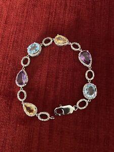 """RARITIES by Carol Brodie Sterling Silver 925 Multigem  Bracelet 7"""""""