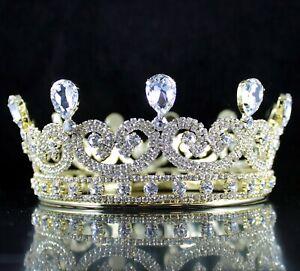 Victorian Round Crown Clear Austrian Rhinestone Hair Tiara Pageant Gold T190G