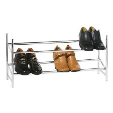 2 TIER CHROME SHOE RACK STACKABLE & EXTENDABLE SHOES STORAGE ORGANISER STAND