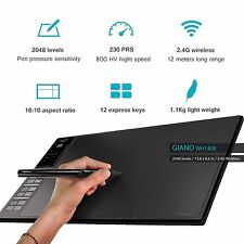 """Graphic Tablet  Wirless Drawing 13.8 x 8.6"""" WH1409 Giano 12 HotKey Closeout SALE"""