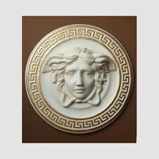 Relief XL Wandrelief Bild Groß Wandbild Medusa Kopf Stuckgips Farbe Creme Gold
