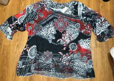 Avenue Studio Women's NEW $58 Sleeve Top Shirt Size 26/28 Red Black White Blouse