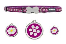 RED DINGO  ADJUSTABLE DOG / PUPPY COLLARS DAISY CHAIN PURPLE & DOG TAG