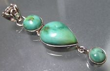 Sterling silver triple turquoise cabochon stones pendant. Free UK Shipping.