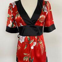 Review Women's Tie Belt Red & Black Top Sz 10 ~ Free AU Post