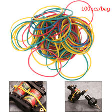 100 Pcs Elastic Rubber Colorful Bands For Tattoo Machine Gun Cord Tool Supplies