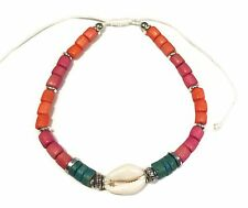 Gypsy Anklet Cowrie Shell Turquoise Pink Orange Beads Med to X Large Aus Made