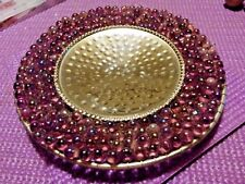 India Iridescent Amethyst Beaded Candle Pilar Plate, 4.5inches Diameter
