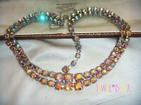 Vintage 1950s  PINK AURORA BOREALIS RHINESTONE CRYSTAL DOUBLE RIVIERE NECKLACE