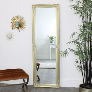 Tall Ornate Gold Wall Leaner Mirror vintage glamorous metallic bedroom bathroom