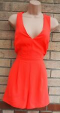 NEW LOOK NEON ORANGE PINK V NECK SLEEVELESS CASUAL SUMMER PARTY PLAYSUIT 10 S