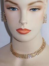 Wedding Bridal 5 Row Gold Rhinestone Choker Necklace, Earrings Set /1504