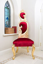 Rococo Chair High Back Gold Red Shabby Chic Throne Hallway Swirl Velvet