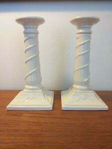 2 LEEDSWARE CERAMIC CANDLE STICKS