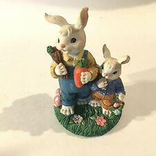 "Vintage Easter Bunny Ceramic & Resin Figurine Carrots 5"" Tall X 3""X 3"" Box 37"