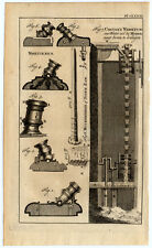 Antique Print-MORTAR-BATTERING RAM-DRAW WATER FROM WELL-Buys-1770